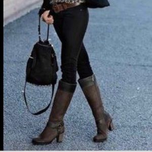 Clarks Womens Riding Boots Brown Leather Suede